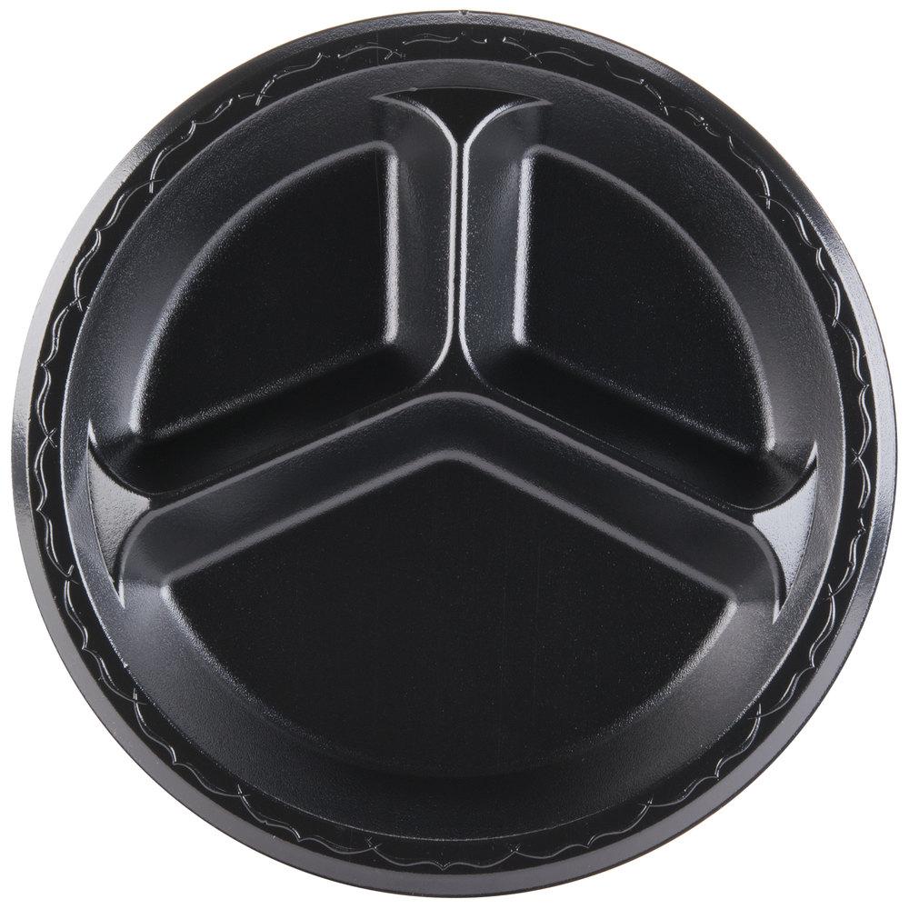 Genpak LAM13 3L Elite 10 1 4 Black 3 Compartment Laminated Foam Plate