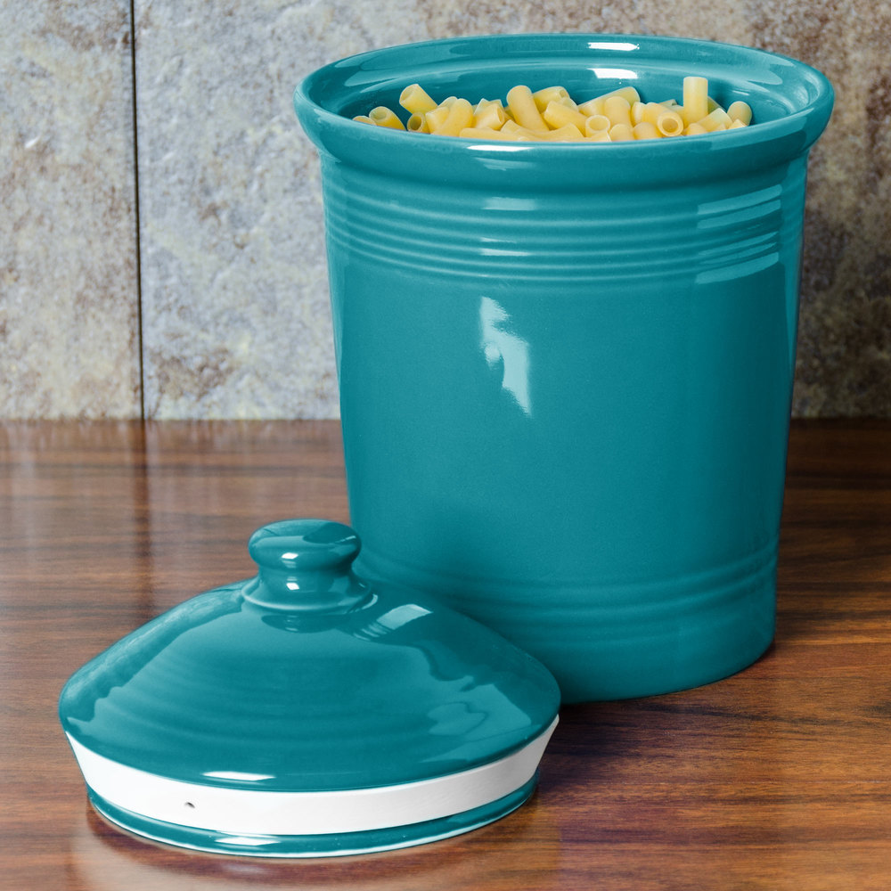 Homer Laughlin 571107 Fiesta Turquoise Small 1 Qt. Canister with Cover - 2/Case