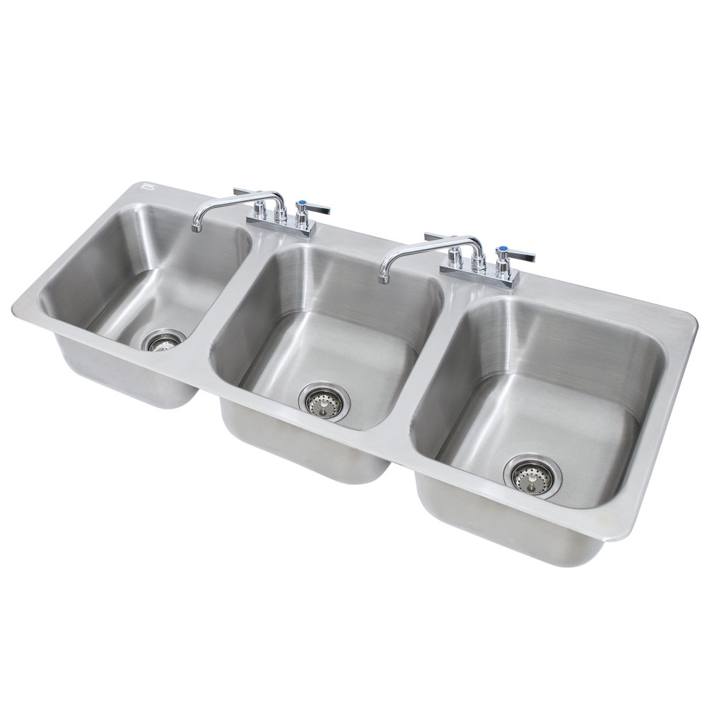 advance tabco di 3 1410 3 compartment drop in sink 16 x 14 x 10 bowls - Three Compartment Kitchen Sink