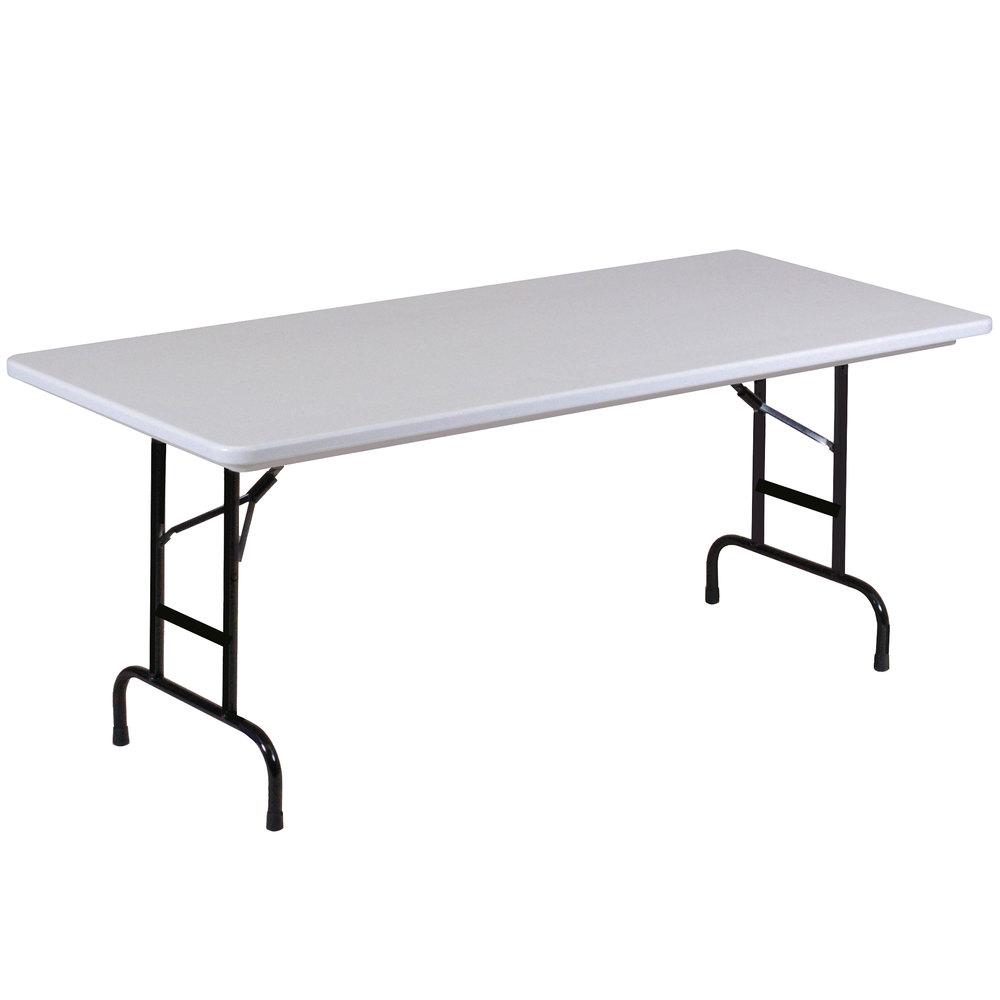 "Correll Adjustable Height Folding Table 30"" x 96"" Plastic"
