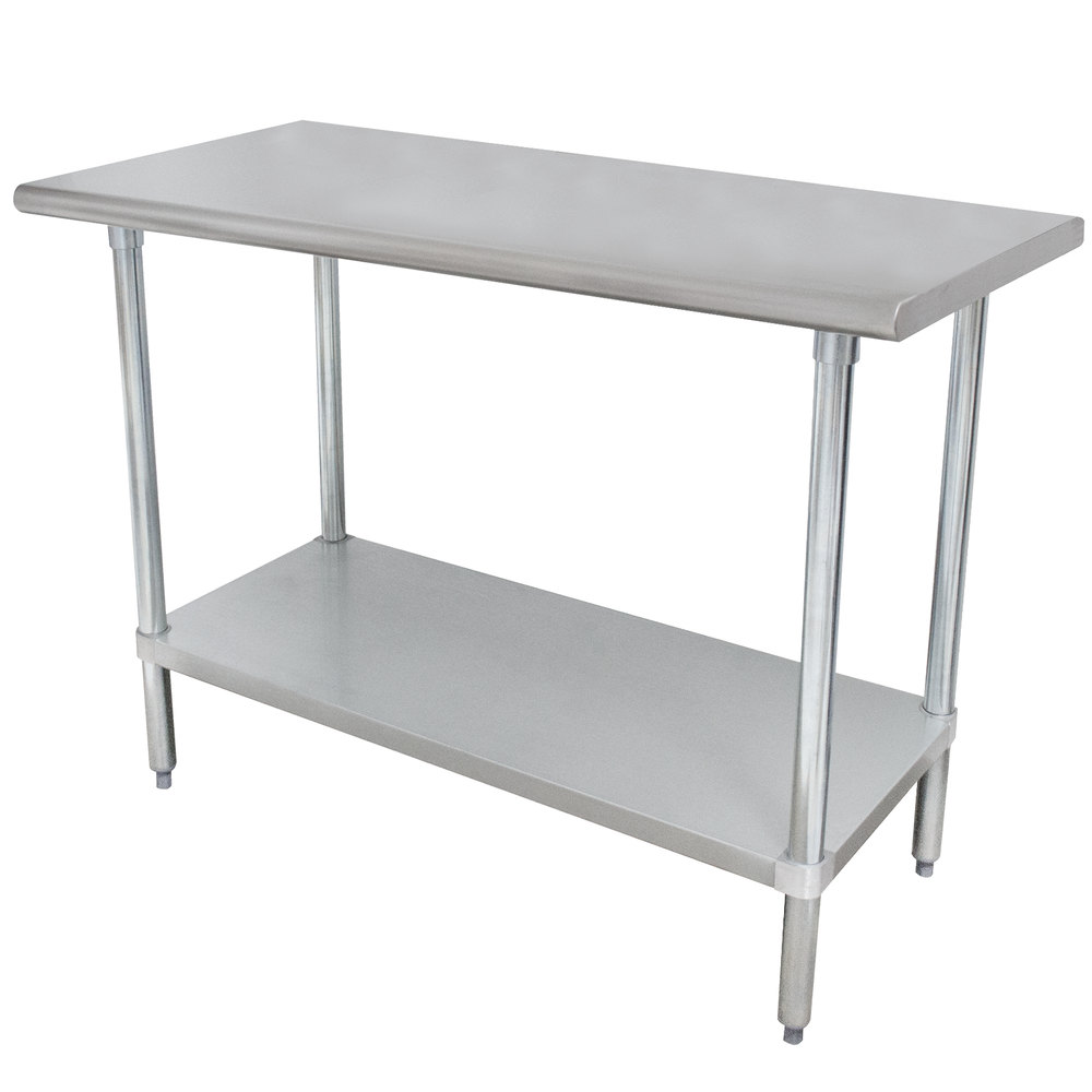 "Advance Tabco ELAG-240-X 24"" x 30"" 16 Gauge Stainless Steel Work Table with Galvanized Undershelf"