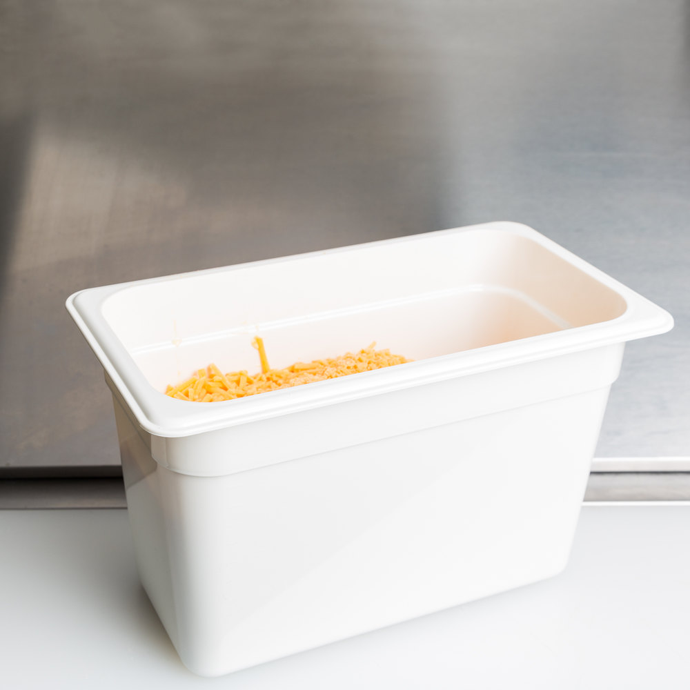 "Cambro 38CW148 Camwear 1/3 Size White Food Pan - 8"" Deep"