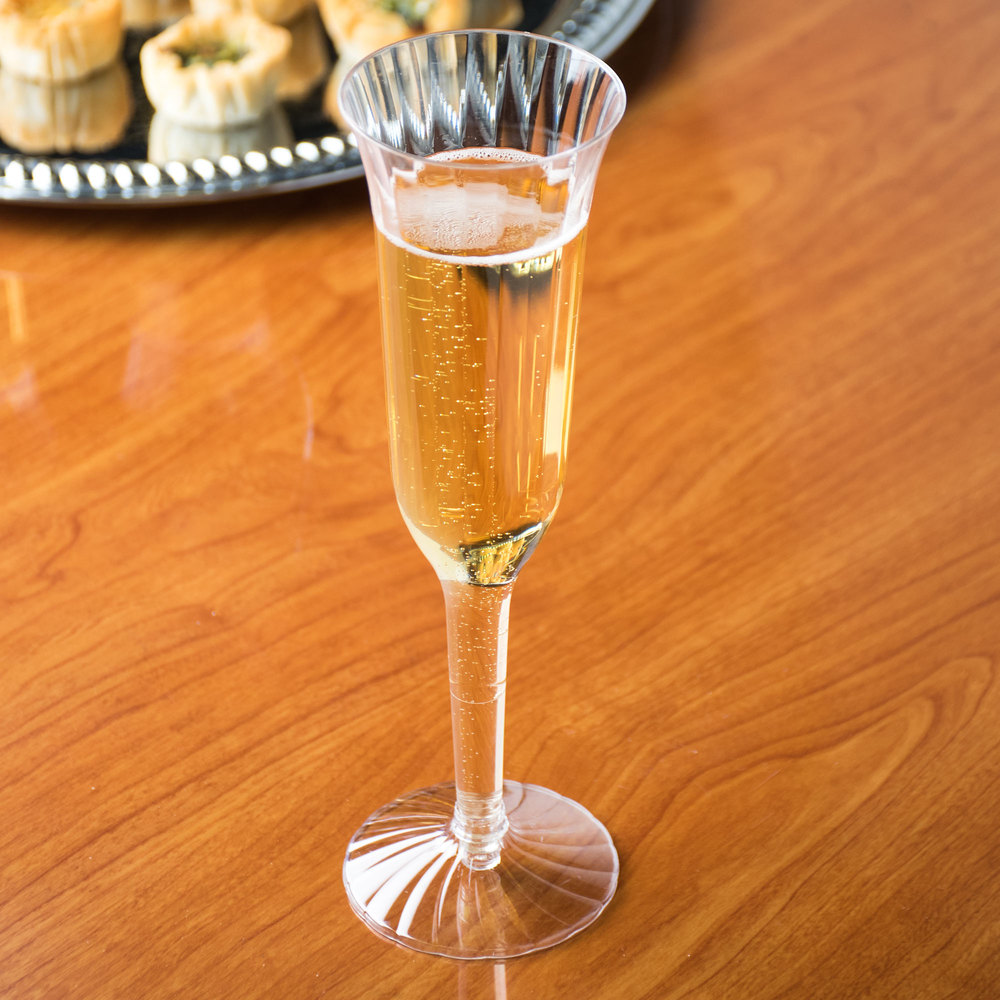 WNA Comet CCC5120 Classicware 5 oz. 2-Piece Clear Plastic Champagne Flute - 10/Pack