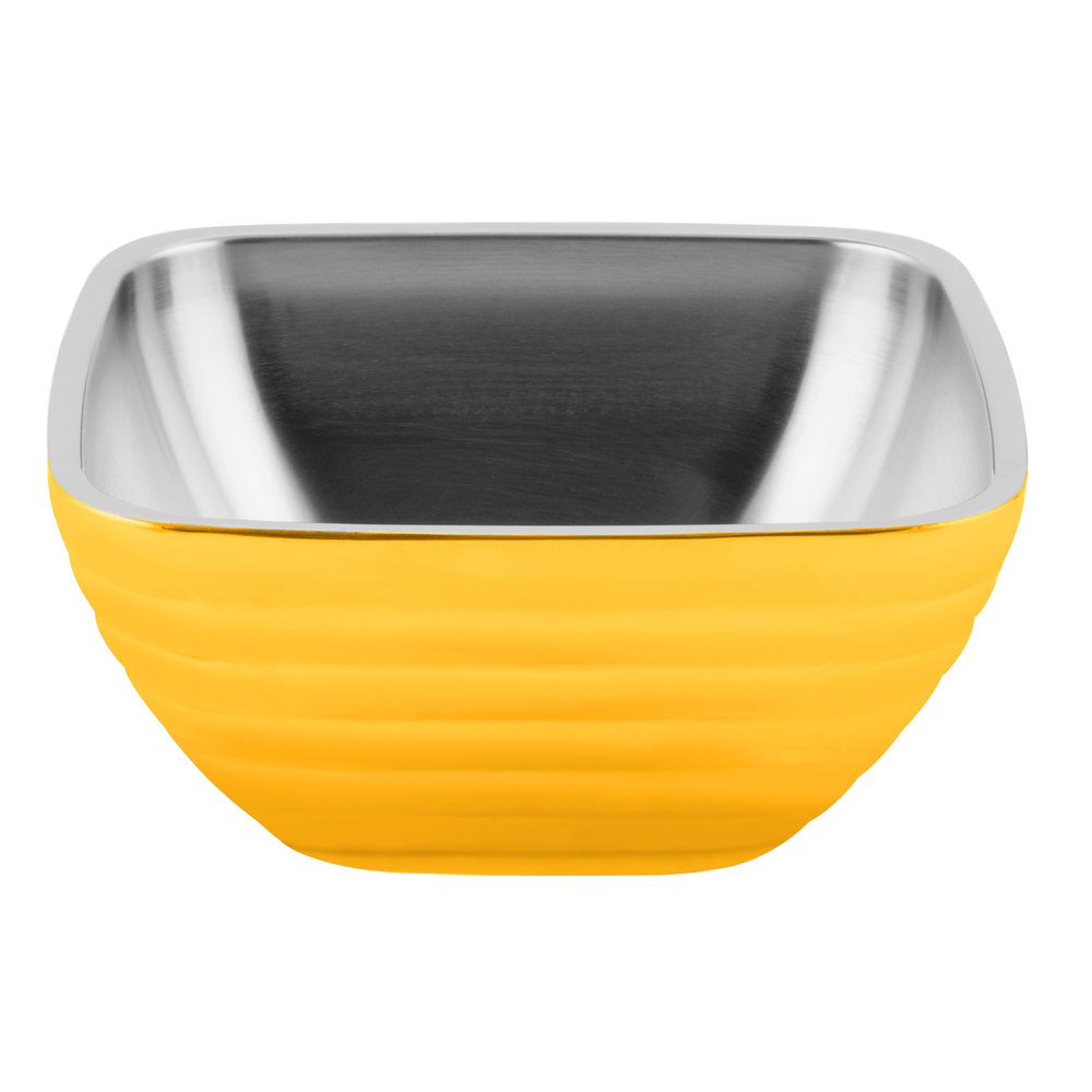 Vollrath 4763745 Double Wall Square Beehive 8.2 Qt. Serving Bowl - Nugget Yellow