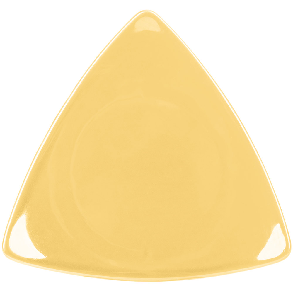 "CAC TRG-23YLW Festiware Triangle Flat Plate 12 1/2"" - Yellow - 12/Case"