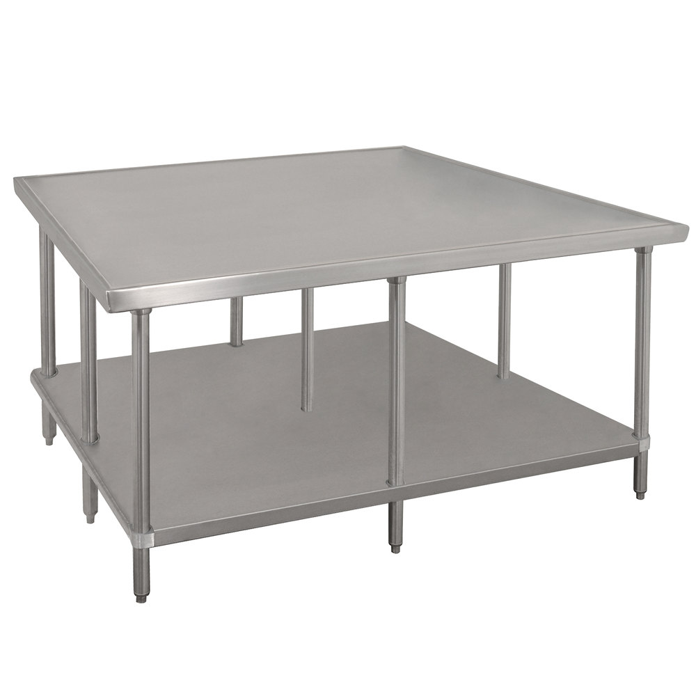 "Advance Tabco VLG-489 48"" x 108"" 14 Gauge Stainless Steel Work Table with Galvanized Undershelf"