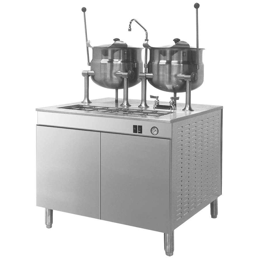 Cleveland 36-DM-K66 (2) 6 Gallon Tilting 2/3 Steam Jacketed Direct Steam Kettles with Modular Base