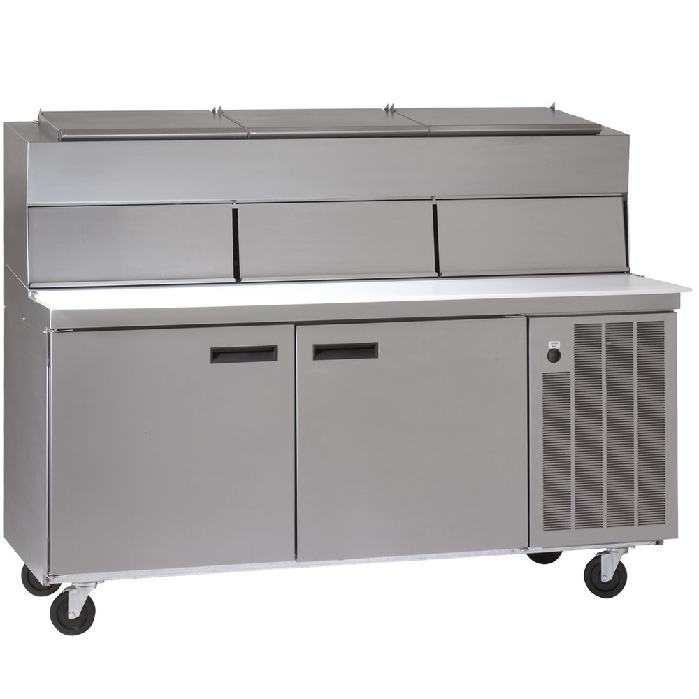 "Delfield 18672PDL 72"" Two Door Refrigerated Pizza Prep Table with Dual LiquiTec Raised Rails"