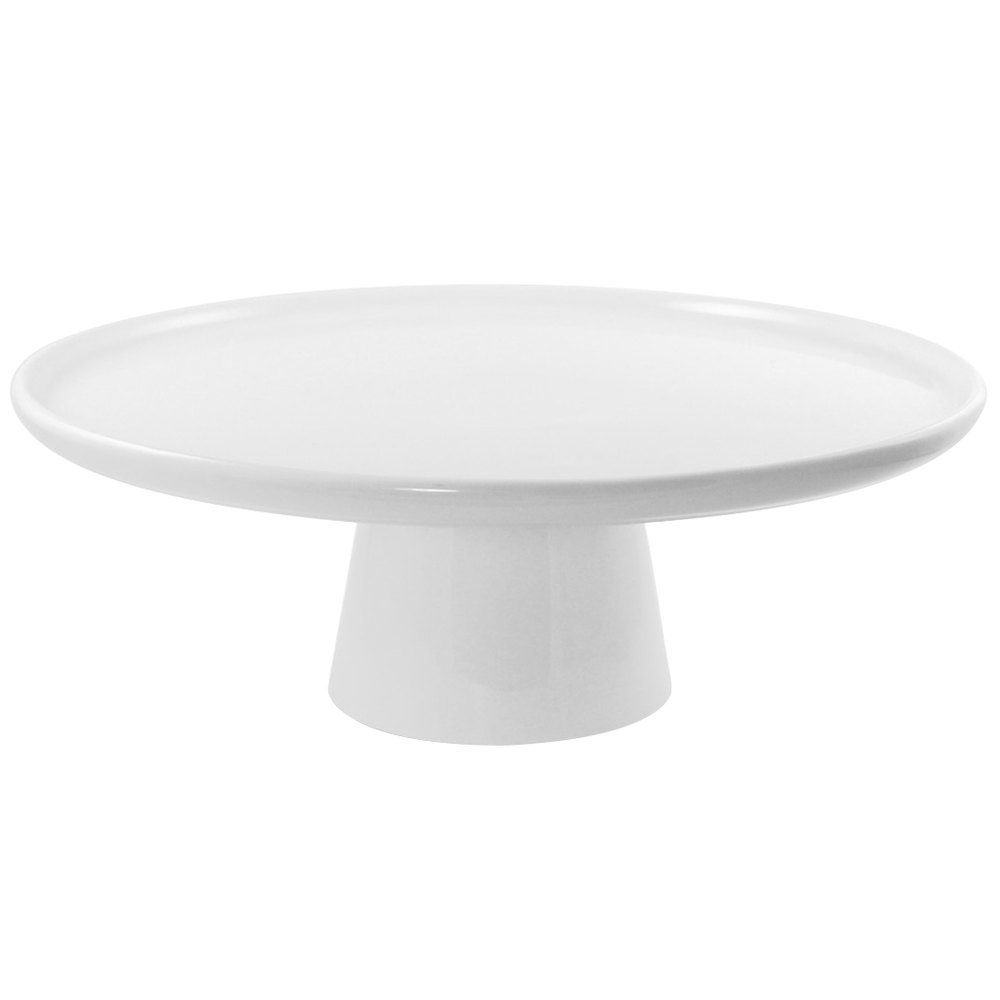 "10 Strawberry Street WTR-8CAKESTND Whittier 8 1/2"" White Porcelain Cake Stand with Foot"