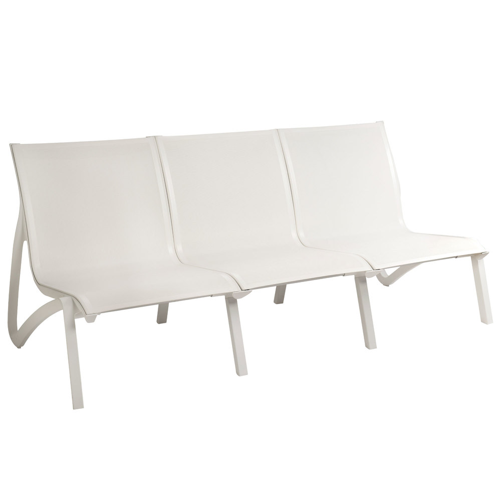 Grosfillex US003096 Sunset White / Glacier White Resin Outdoor Sling Sofa - 2/Pack