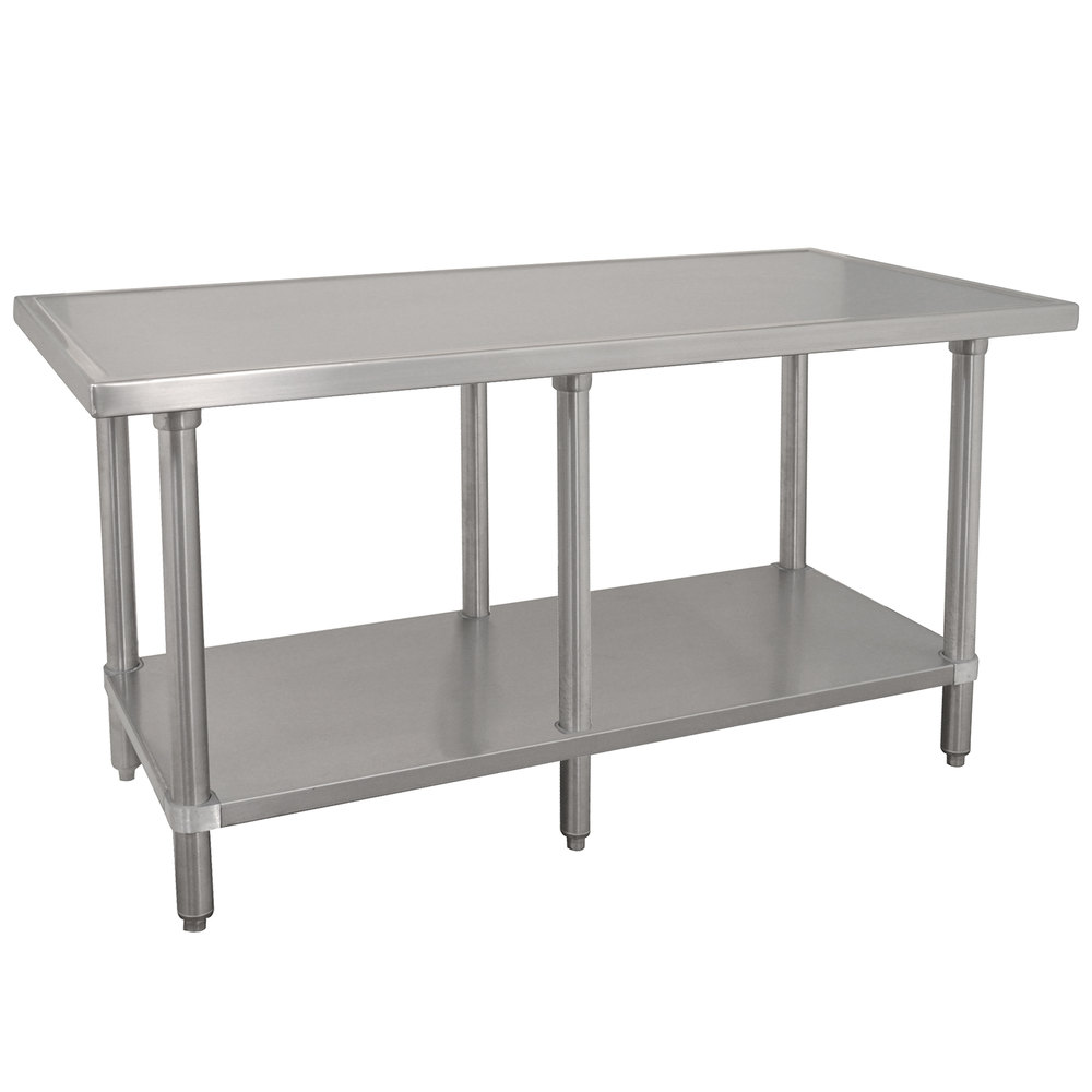 "Advance Tabco VLG-3611 36"" x 132"" 14 Gauge Stainless Steel Work Table with Galvanized Undershelf"