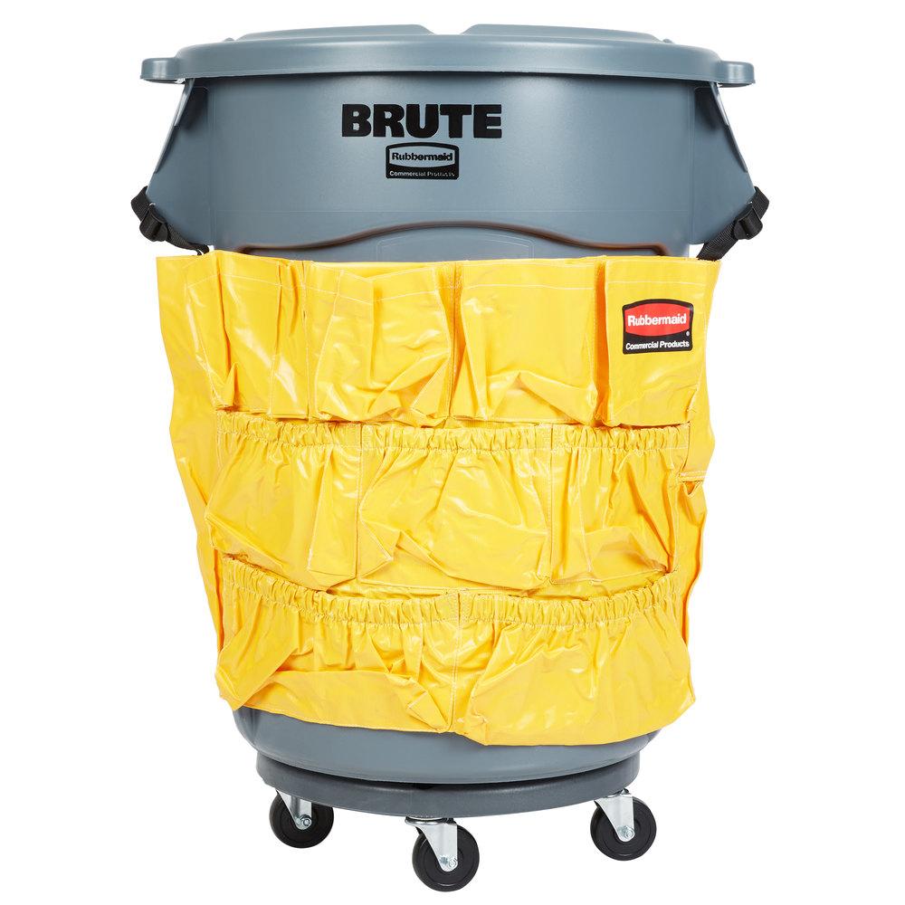 Rubbermaid Brute 44 Gallon Gray Trash Can Lid Caddy Bag