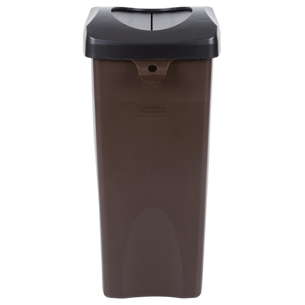 Rubbermaid Untouchable 23 Gallon Brown Square Trash Can