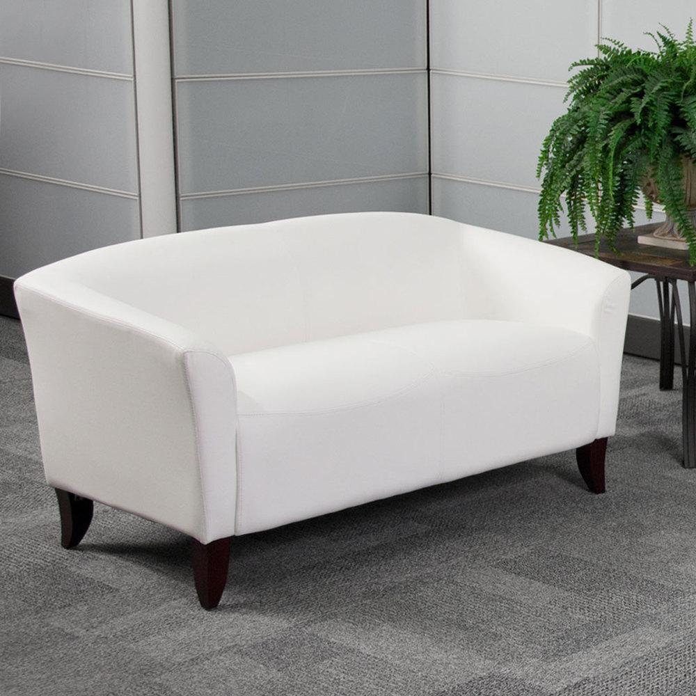 furniture whgg hercules imperial white leather loveseat  - flash furniture whgg hercules imperial white leather loveseat withwooden feet