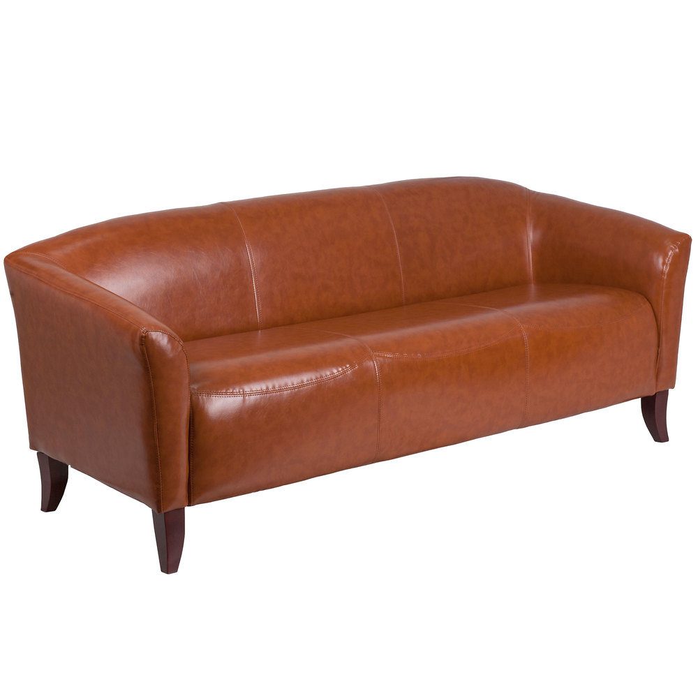 Flash Furniture 111 3 Cg Gg Hercules Imperial Cognac Leather Sofa With Wooden Feet