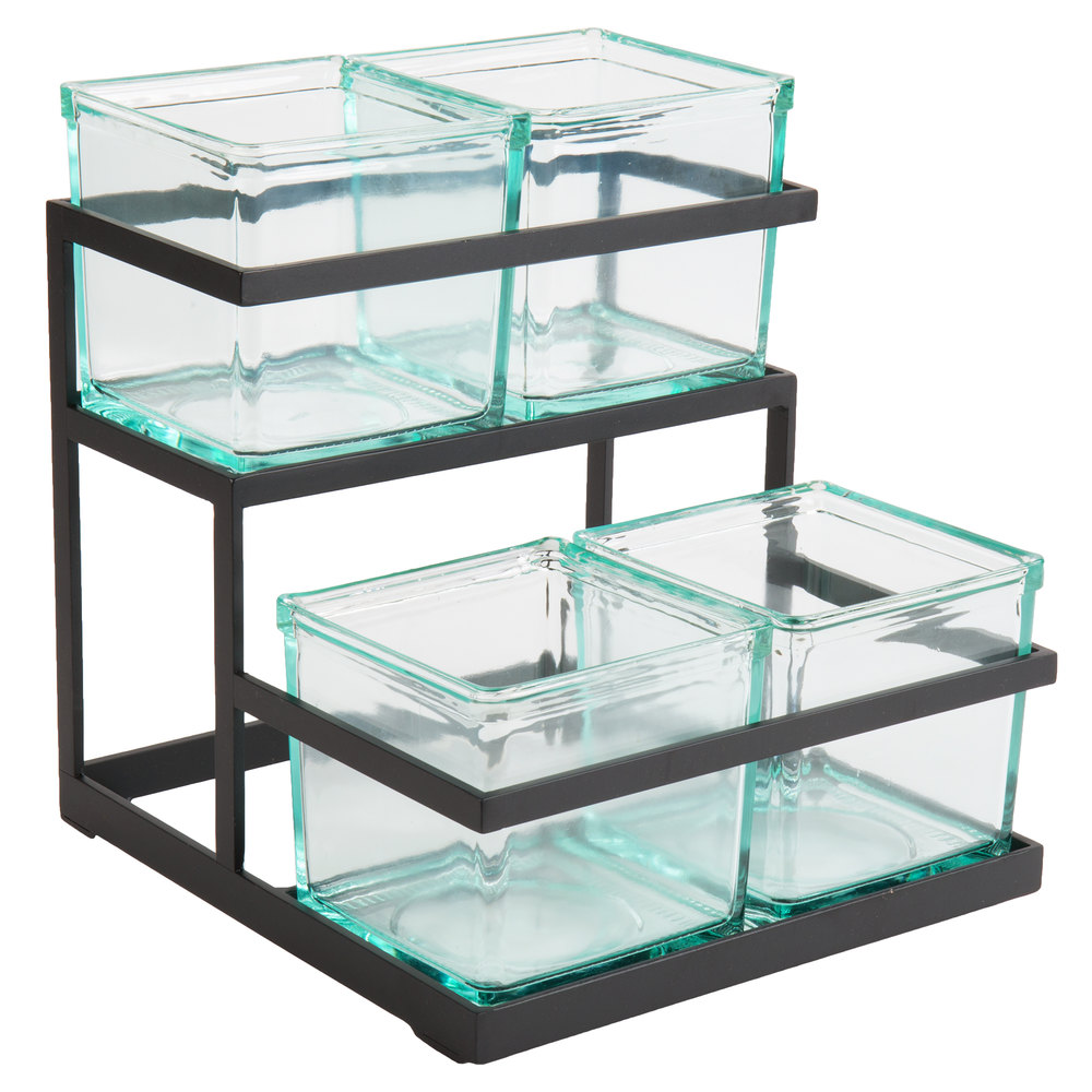 Cal-Mil 3604-13 2-Step Black Condiment Display with 4 Glass Jars ...