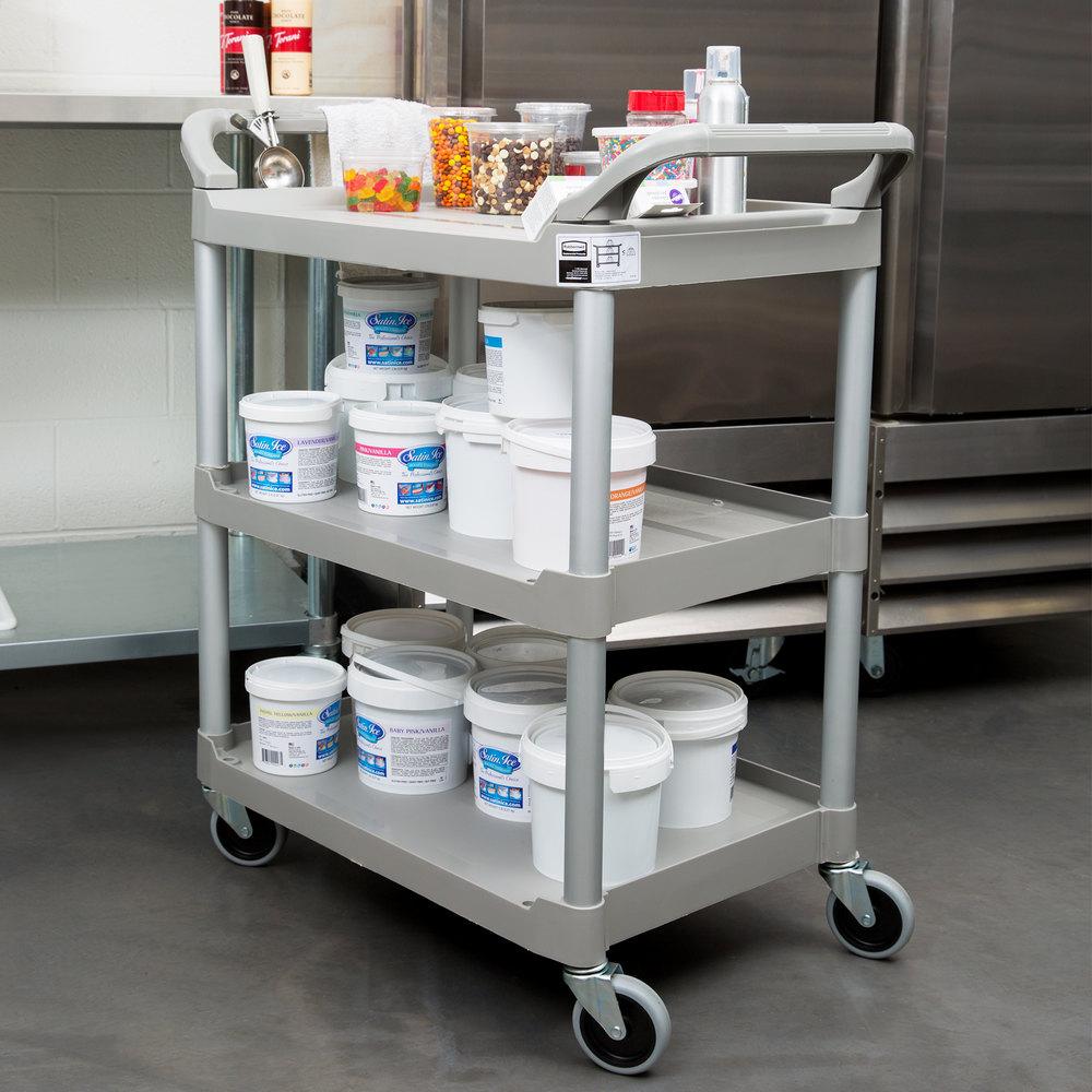 rubbermaid platinum three shelf utility cart bus cart 33 x 18 x 37 - Rubbermaid Utility Cart