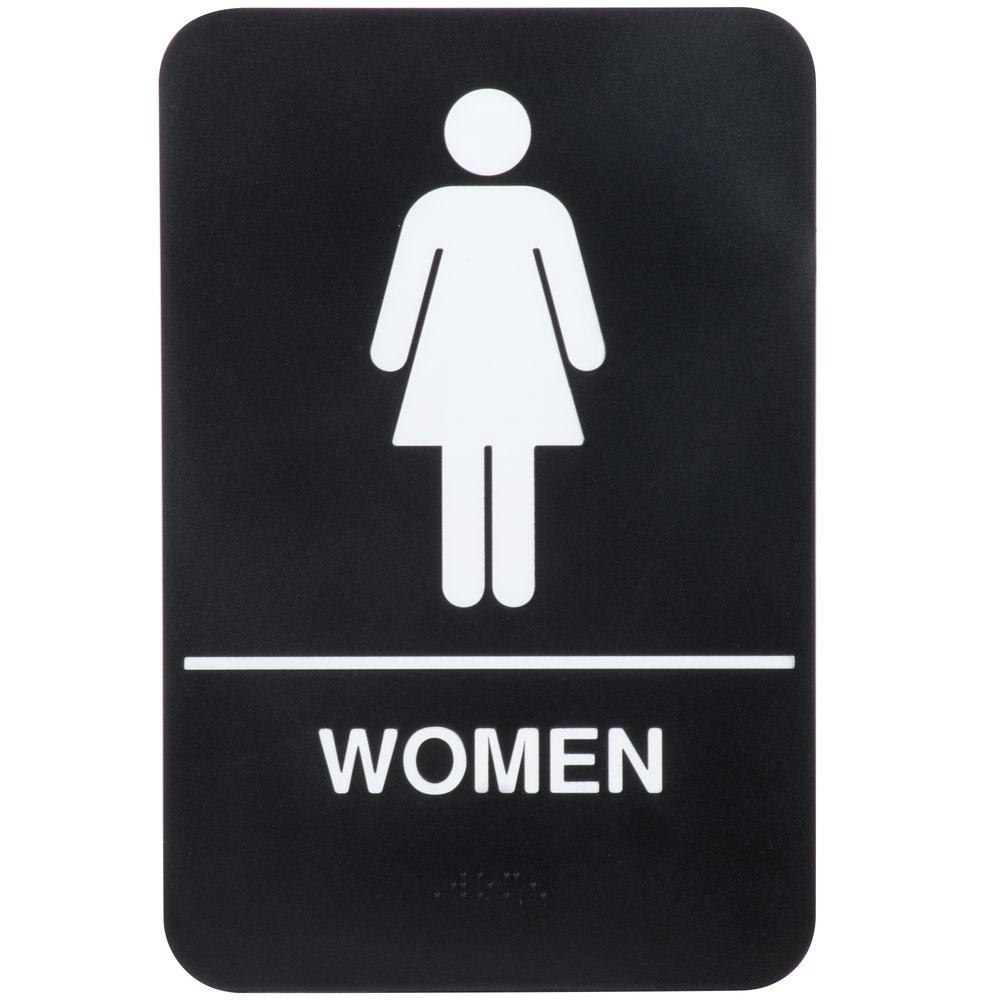 "Bathroom Signs Black And White ada women's restroom sign with braille - black and white, 9"" x 6"""