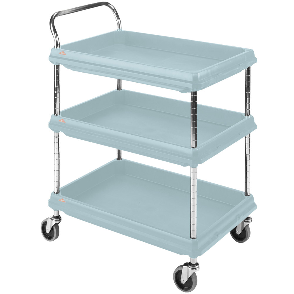 "Metro BC2030-3DMB Utility Cart with Three Deep Ledge Shelves and Microban Protection 32 3/4"" x 21 1/2"" Slate Blue"