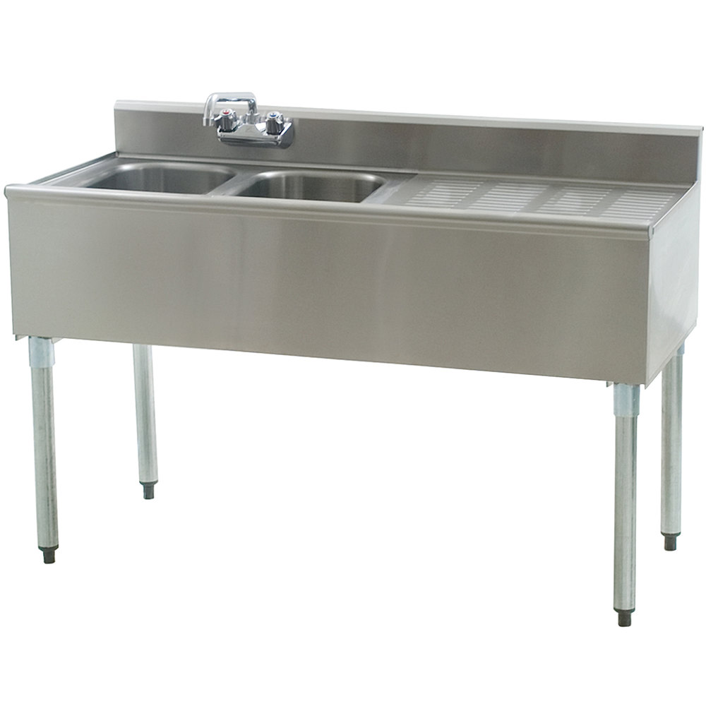 "Eagle Group B4R-2-18 Compartment Underbar Sink with 24"" Right Drainboard and Splash Mount Faucet - 48"""