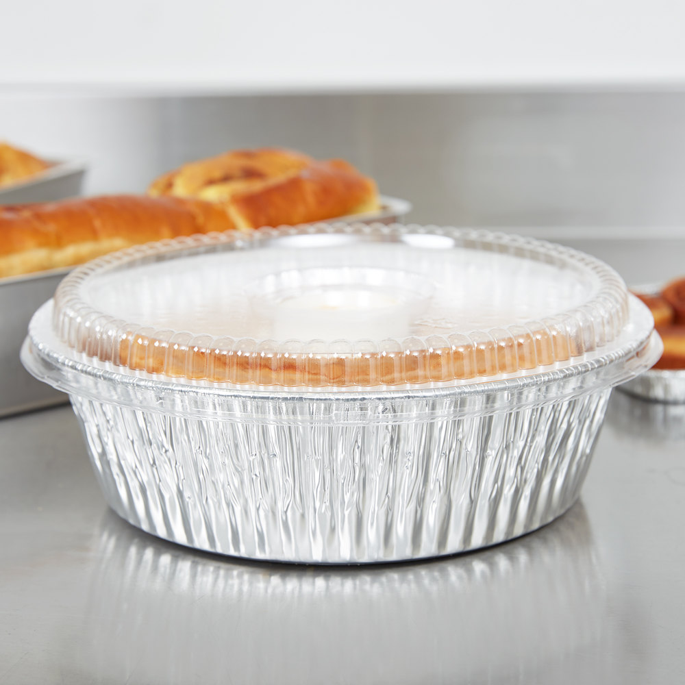 "D&W Fine Pack D62 10"" Aluminum Foil Angel Food Pan with Clear Dome Lid - 10/Pack"