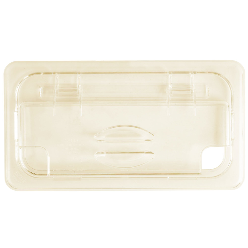 Cambro 30HPLN150 H-Pan 1/3 Size Amber High Heat FlipLid with Spoon Notch