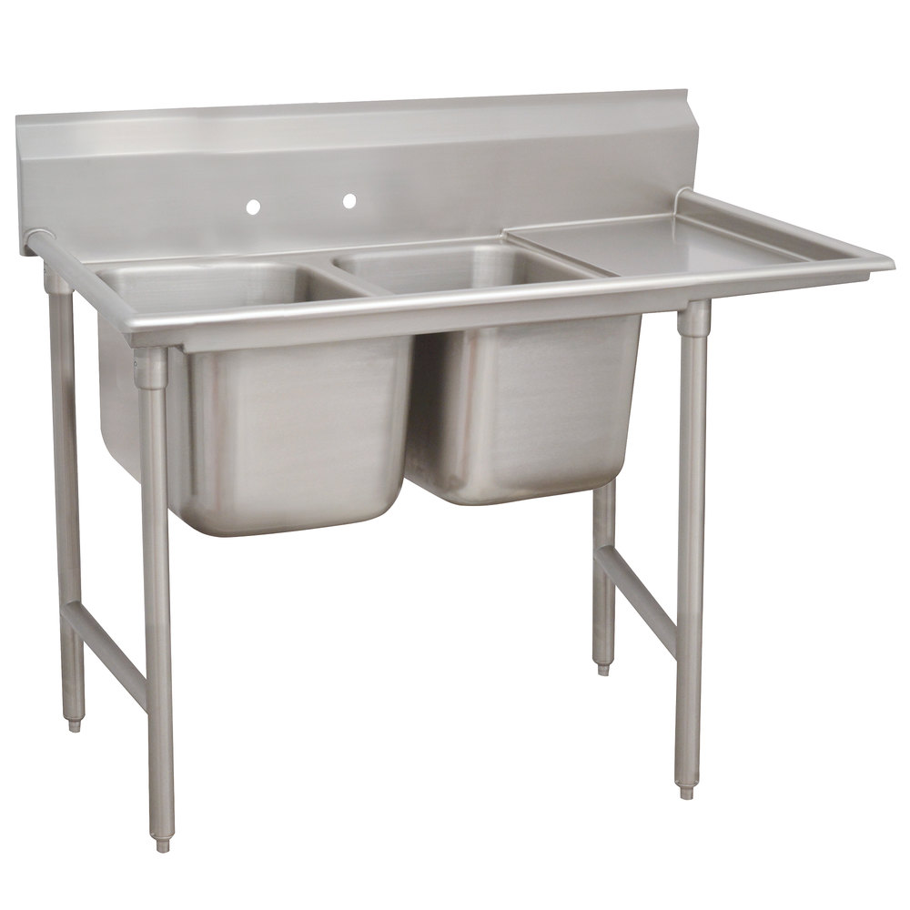 Right Drainboard Advance Tabco 9-2-36-18 Super Saver Two Compartment Pot Sink with One Drainboard - 58""