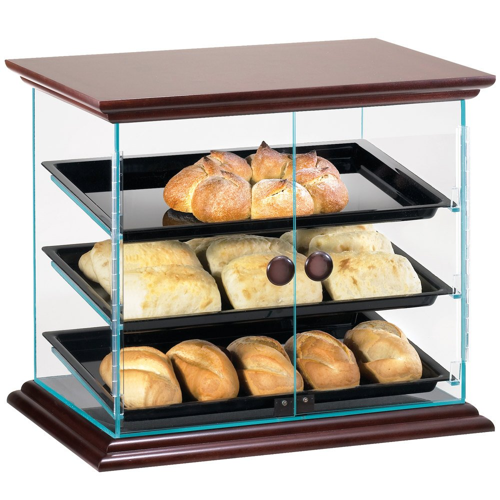 "Cal-Mil 815-52 Westport Three Tier Wood Trim Display Case with Front Doors - 21"" x 16 3/4"" x 18 1/4"""