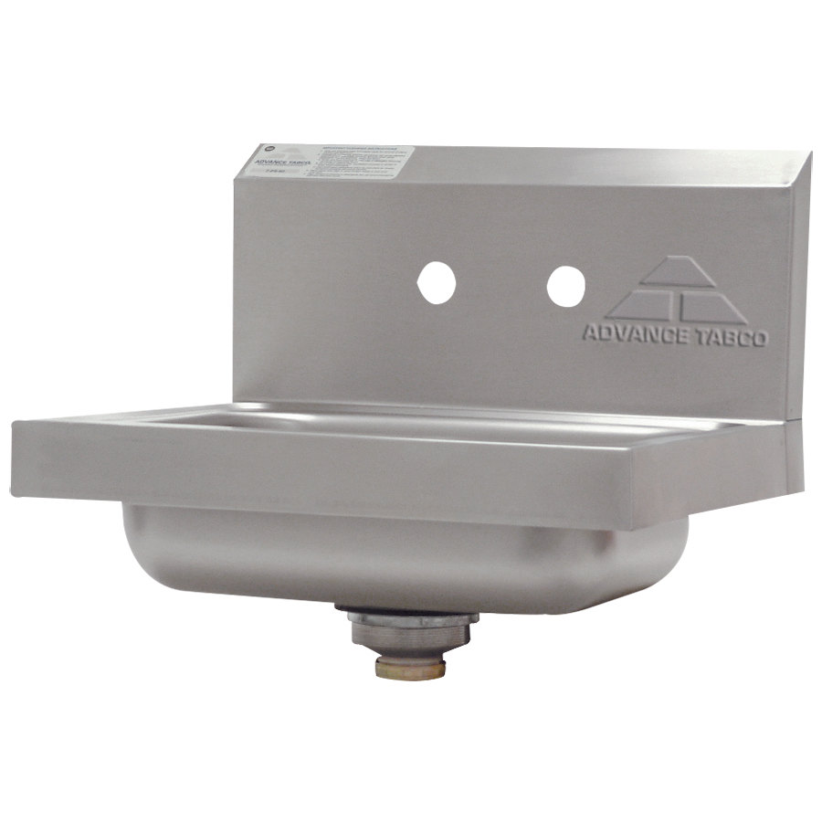 "Advance Tabco 7-PS-70 Hand Sink with Two Splash Faucet Holes - 17"" x 15"""