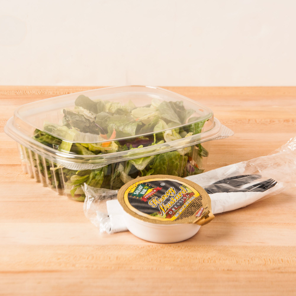 "Genpak AD24F 7 1/4"" x 6 3/8"" x 2 9/16"" 24 oz. Clear Hinged Deli Container with High Dome Lid - 100/Pack"