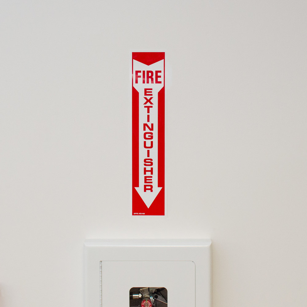 "Buckeye 18"" x 4"" Red and White Fire Extinguisher Adhesive Label"