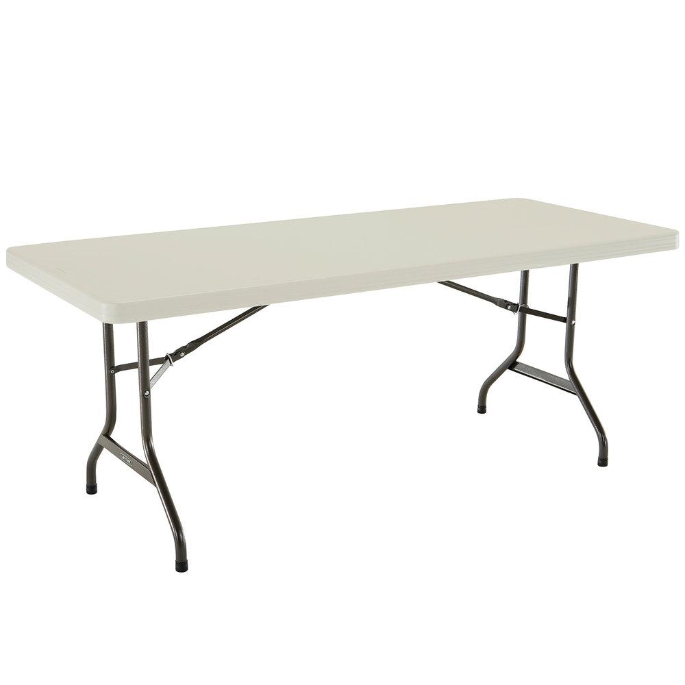 lifetime 42900 30 x 72 almond plastic folding table 4 pack. Black Bedroom Furniture Sets. Home Design Ideas