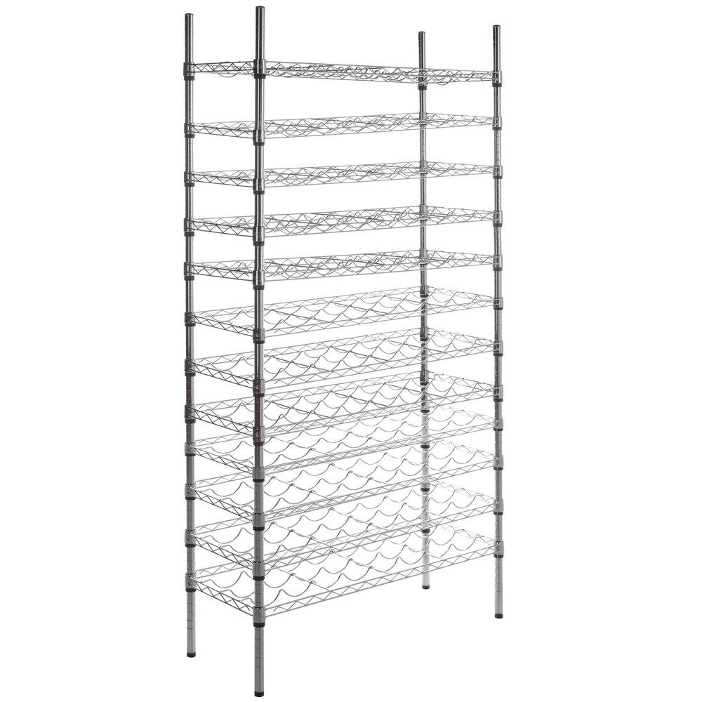 Regency 14 inch x 36 inch 12 Shelf Wire Wine Rack with 74 inch Posts
