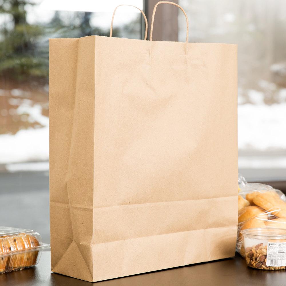 "Duro Towner Natural Kraft Paper Shopping Bag with Handles 16"" x 6"" x 19"" - 200/Bundle"