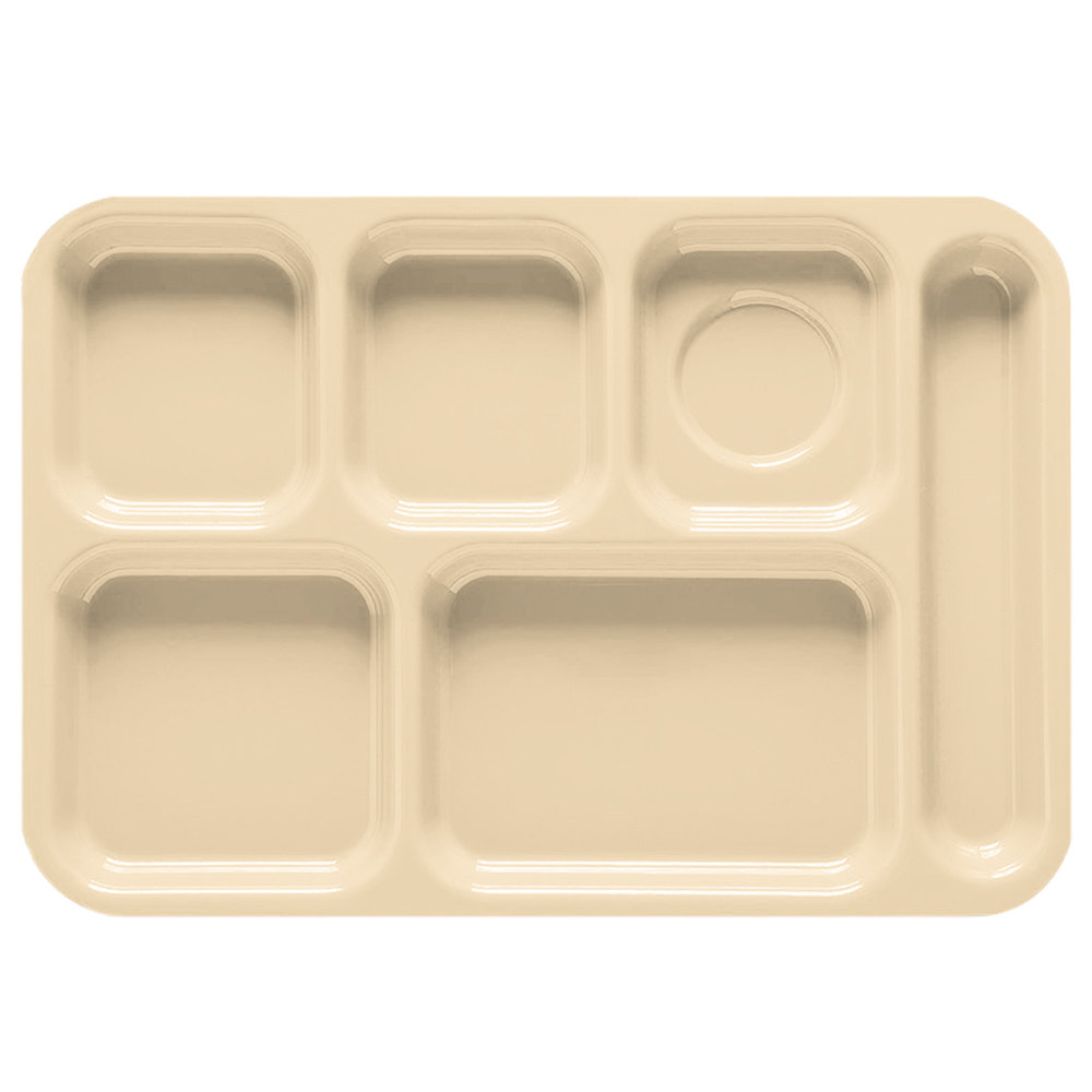 "GET TR-152 10"" x 14 1/2"" Right Hand 6 Compartment Tray - Tan ABS Plastic 12 / Pack"