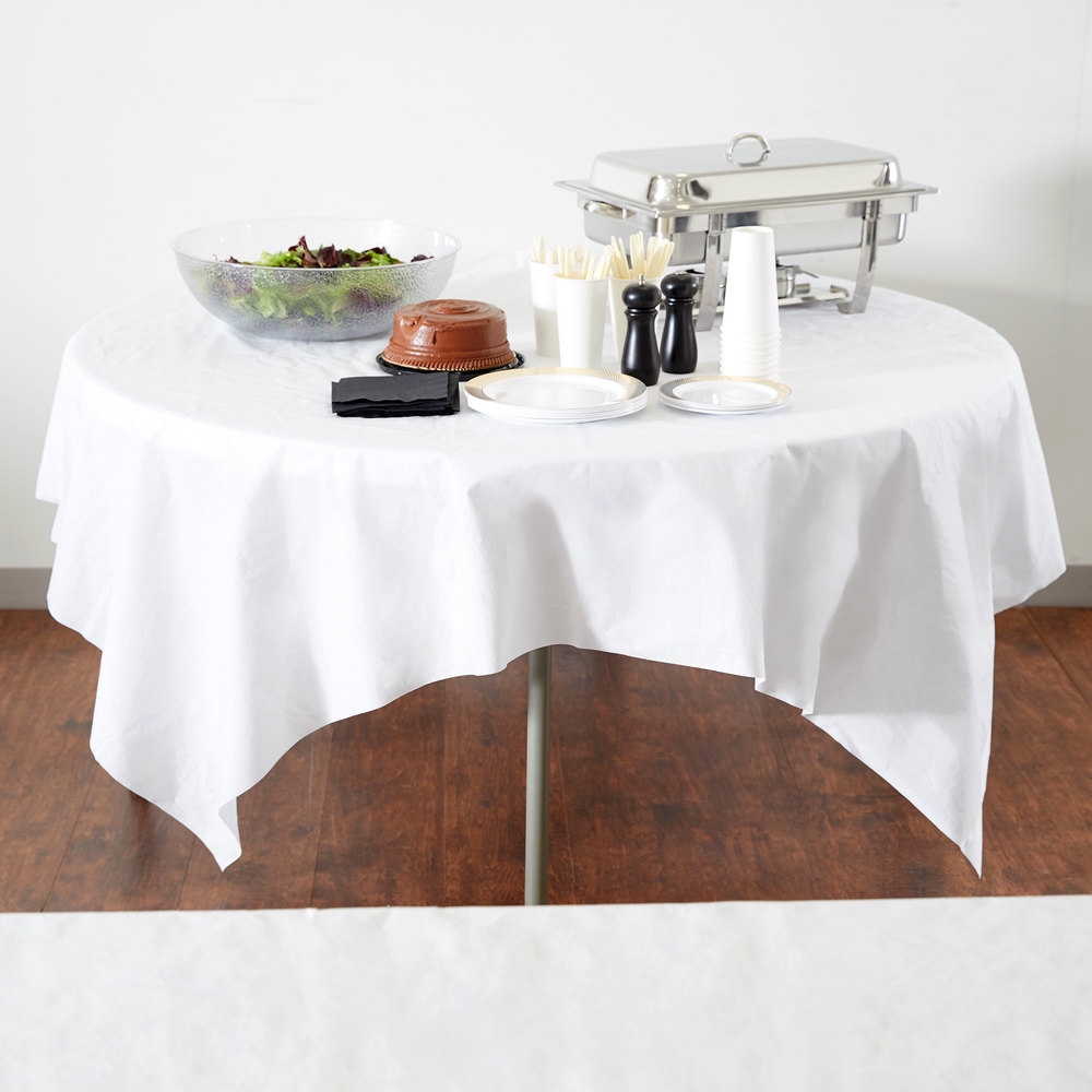 "Hoffmaster 210431 82"" x 82"" Linen-Like White Table Cover - 24/Case"