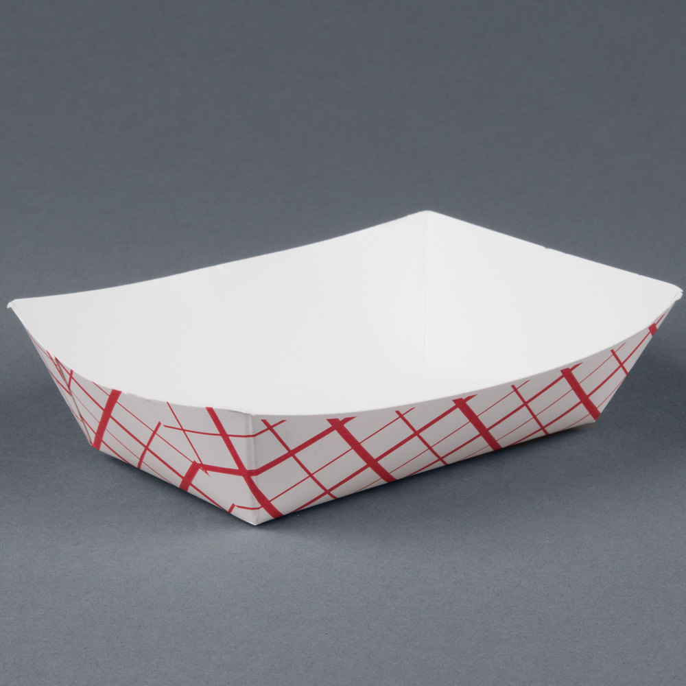 2 Lb Red Check Paper Food Tray 1000 Case