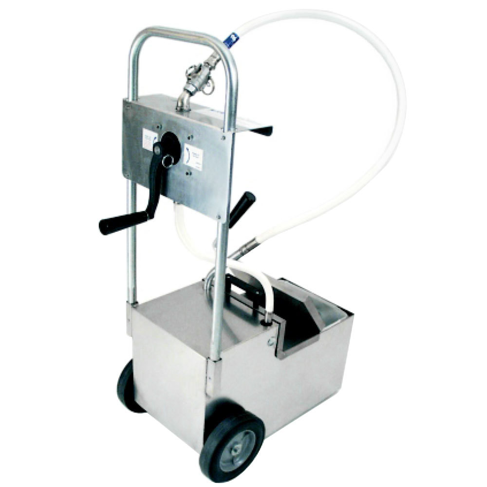 MirOil HOD0800 85 lb. Fryer Oil Hand Operated Filter Machine and Discard Trolley - Drain Valve