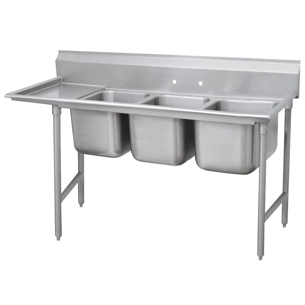 Left Drainboard Advance Tabco 9-83-60-18 Super Saver Three Compartment Pot Sink with One Drainboard - 89""