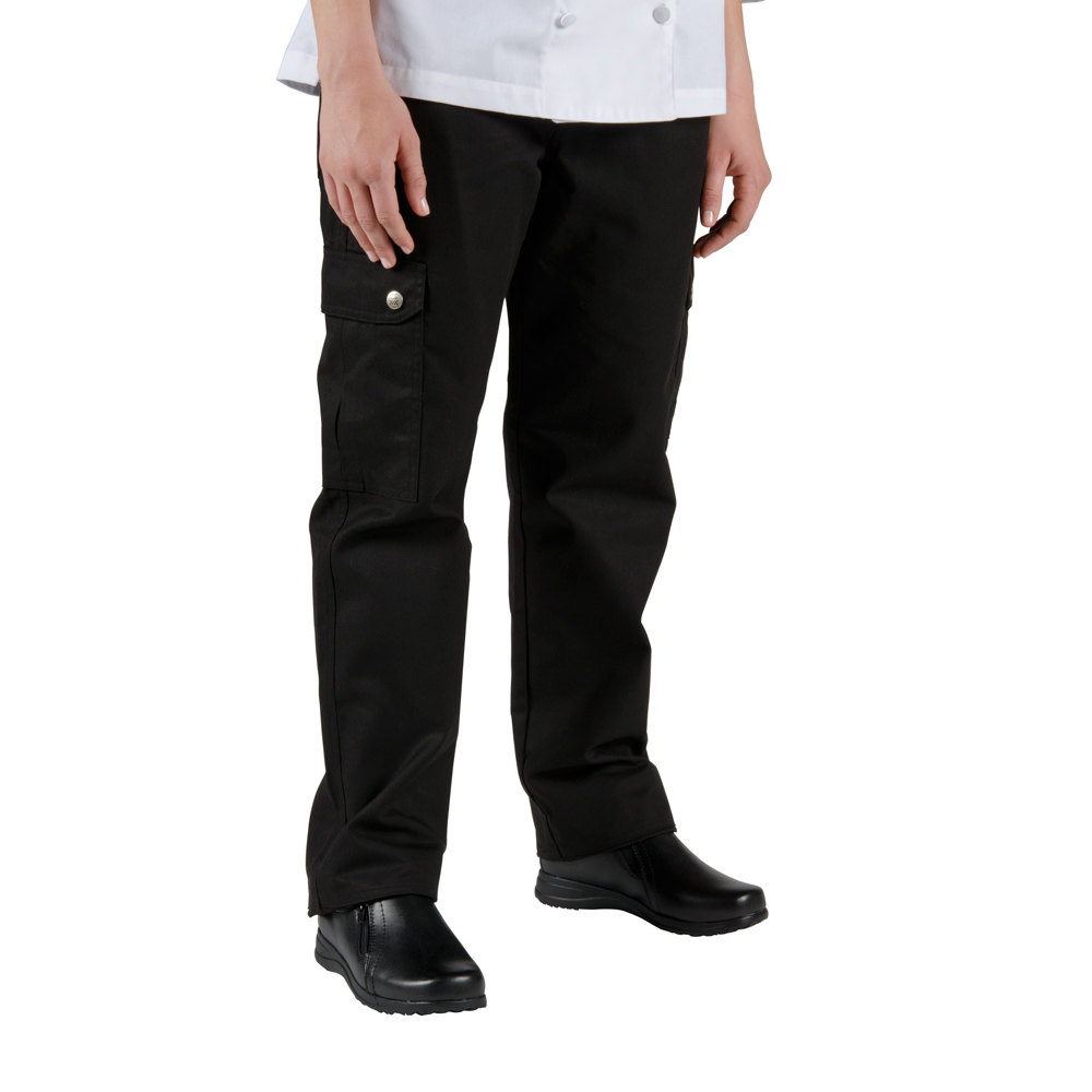 Chef Revival LP002BK Size S Black Ladies Cargo Chef Pants - Poly-Cotton
