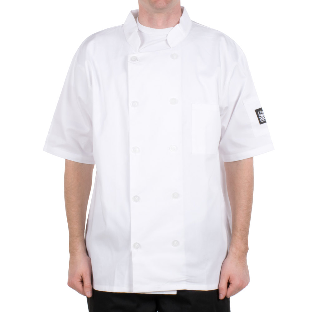 Chef Revival Bronze J105-L Size 46 (L) Customizable White Short Sleeve Double-Breasted Chef Coat - Poly-Cotton Blend