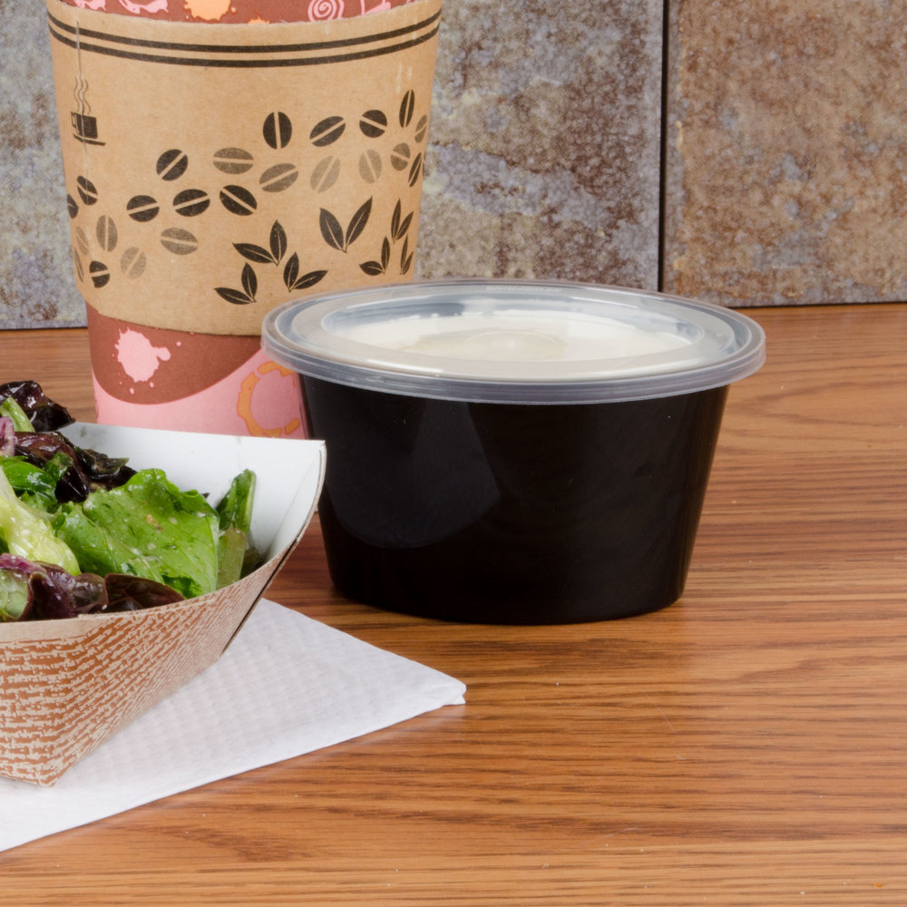 Newspring YE502-B ELLIPSO 2 oz. Black Oval Souffle / Portion Cup with Clear Lid - 1000 / Case