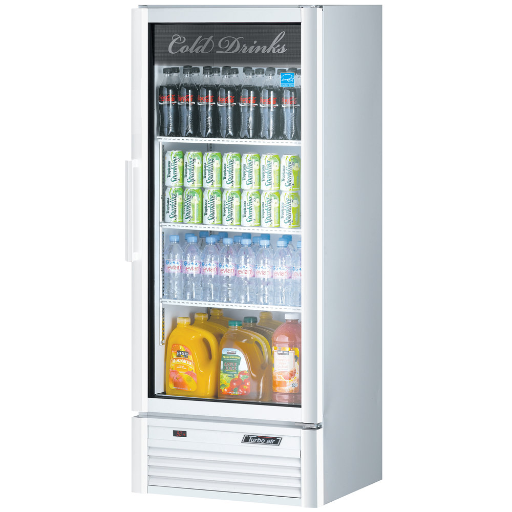 "Turbo Air TGM-12SD White 26"" Super Deluxe Single Door Refrigerated Merchandiser - 11.3 Cu. Ft."