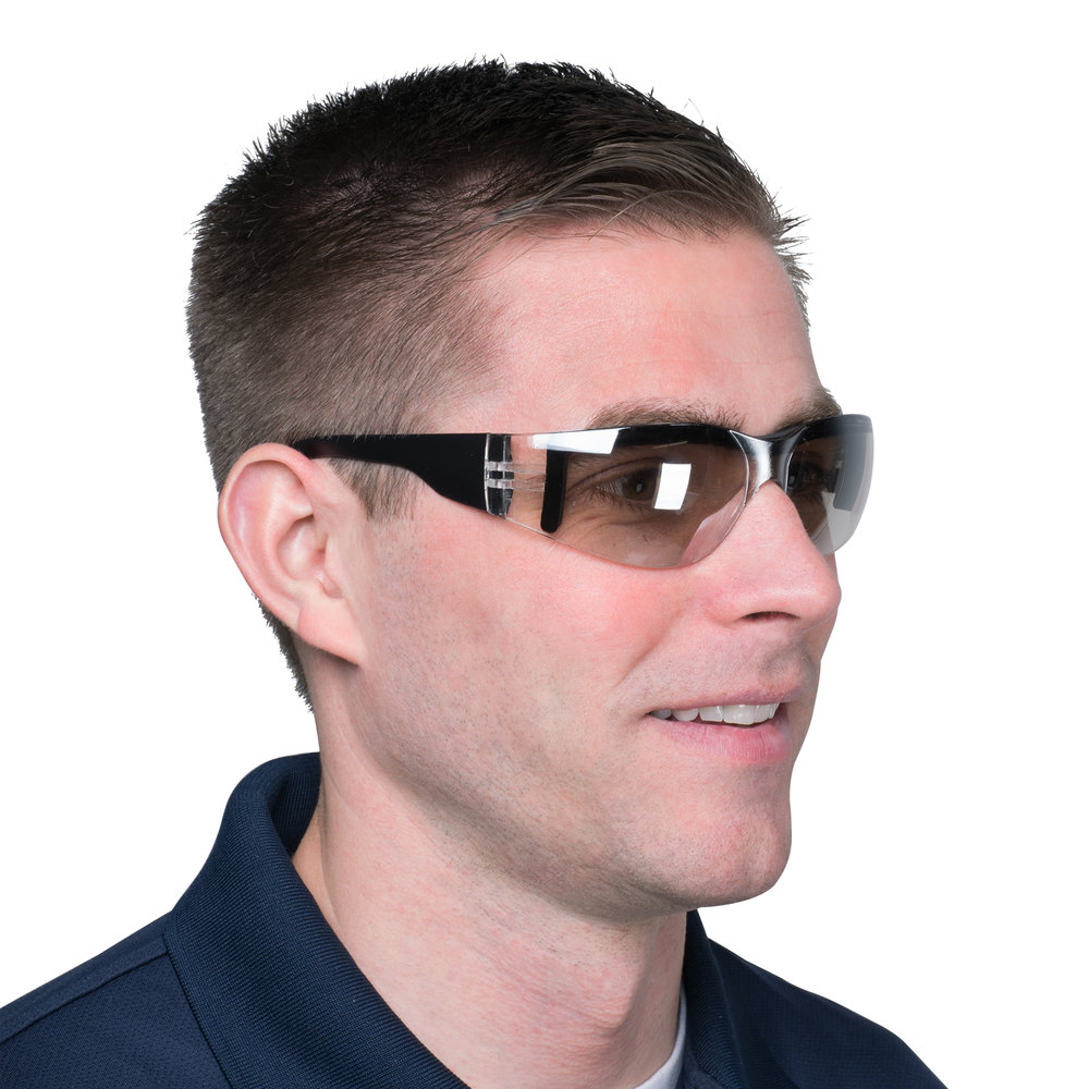Scratch Resistant Safety Glasses / Eye Protection - Black with Indoor / Outdoor Lens for Overhead Work