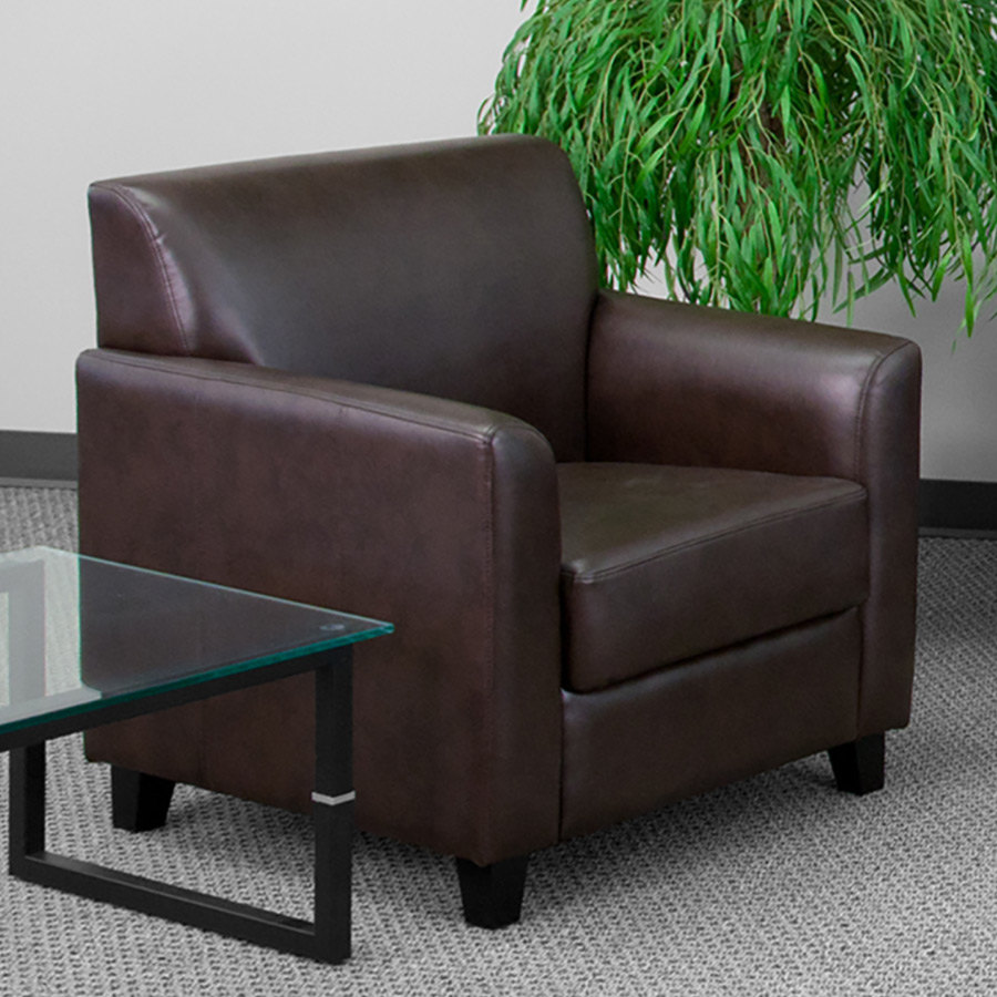 Flash Furniture Bt 827 1 Bn Gg Hercules Diplomat Brown Leather Chair With Wooden Feet
