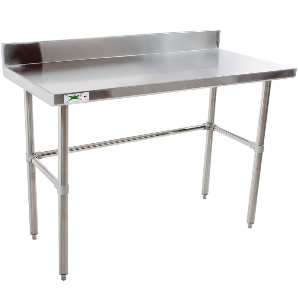 Regency 24 X 48 16 Gauge 304 Stainless Steel Commercial Open Base Work Table With 4 Backsplash
