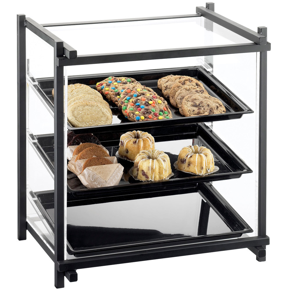 "Cal-Mil 1143-13 One By One Three Tier Black Display Case with Rear Door - 16 1/2"" x 14"" x 22"""