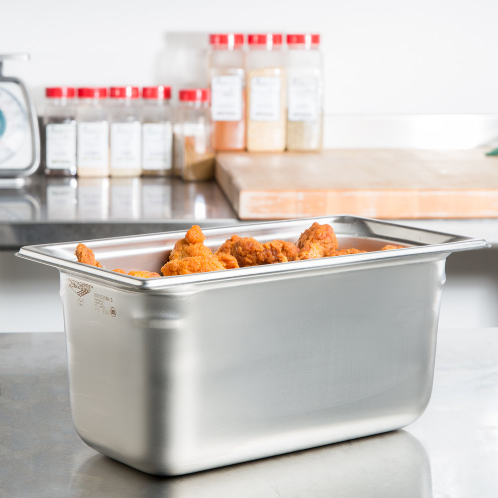 "Vollrath 90362 Super Pan 3® 1/3 Size Anti-Jam Stainless Steel Steam Table / Hotel Pan - 6"" Deep"
