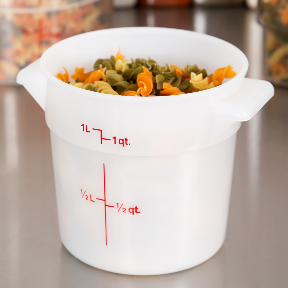 Cambro RFS1148 1 Qt. Round White Food Storage Container
