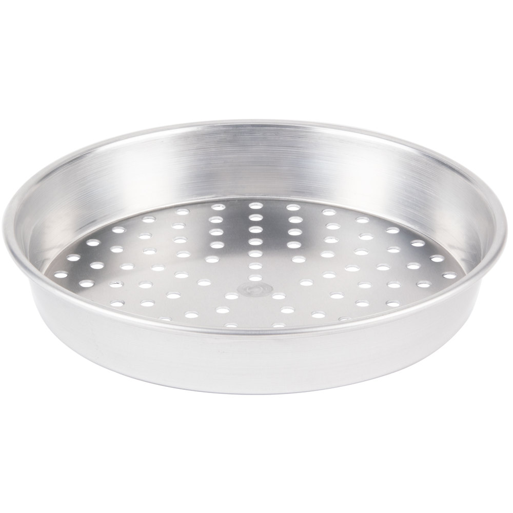 "American Metalcraft HA90082P 8"" x 2"" Perforated Heavy Weight Aluminum Tapered / Nesting Pizza Pan"